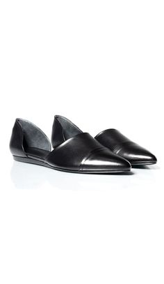 """Pointed toe leather d'orsay flat. Seam at the vamp. Heel 1/2"""" (12 mm). Imported from Italy.CAN'T FIND YOUR SIZE OR COLOR? CALL US AT 310.860.0123 (MON- SAT 10 AM - 6 PM PST) OR EMAIL ONLINE@JENNIKAYNE.COM"""