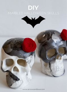 Easy DIY Marbled Skulls for Halloween! Step by Step tutorial to achieve this…