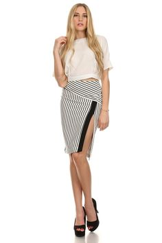 13df55c3eef White   black striped pencil skirt with high waist and side slit detail