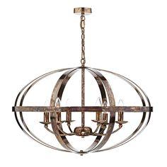 Dar SYM0664 Symbol 6 Light Pendant Ceiling Light in Dappled Copper from Lights 4 Living
