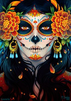 "La Catrina illustration by Maria Dimova from ""How to Create a Vibrant Day of the Dead Portrait in Adobe Illustrator"" on envatotuts+ Maquillaje Sugar Skull, Los Muertos Tattoo, Catrina Tattoo, Candy Skulls, Sugar Skulls, Candy Skull Makeup, Skeleton Makeup, Sugar Skull Halloween Makeup, Sugar Skull Makeup Tutorial"