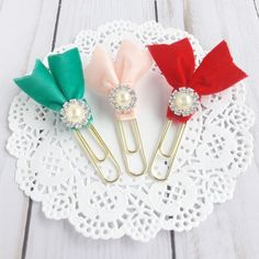 """Glam Velvet and Rhinestone Ribbon Flags """"Adore"""" Collection on Jumbo Gold Paperclip Planner Clip Book Paperclip Crafts, Paperclip Bookmarks, Ribbon Bookmarks, Paper Clips Diy, Paper Clip Art, Ribbon Crafts, Paper Crafts, Book Markers, Crafts To Sell"""