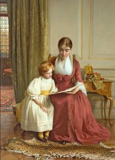 The reading lesson. Richard Crafton Green, (1848-1934) British painter.  Perfect reading place/with mother