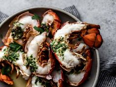Broiled Lobster Tails with Compound Butter Recipe | Maine Seafood Lobster Sauce, Broil Lobster Tail, Lobster Meat, Lobster Tails, Maine Seafood, Polenta Recipes, Creamy Polenta, Compound Butter, Chicken Piccata