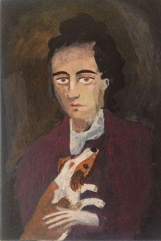 Young man & Dog folk art original painting portrait by raphaelbalme on Etsy