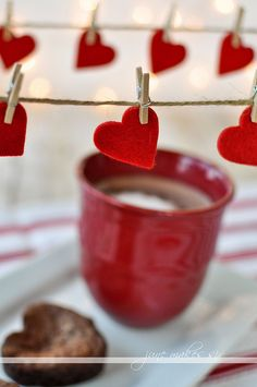 I like the garland.  Heart Shaped Brownies and Delicious Hot Chocolate. I don't think I could ask for anything more to warm me up in this cold weather! From June Makes Six