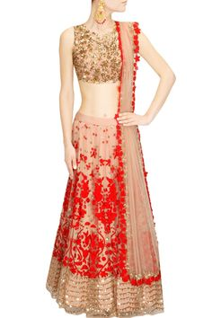 Astha Narang presents Peach and red floral thread and sequins embroidered lehenga set available only at Pernia's Pop Up Shop. Indian Bridal Party, Indian Bridal Lehenga, Indian Bridal Outfits, Indian Dresses, Bridal Dresses, Wedding Dress, Indian Clothes, Wedding Outfits, Latest Designer Sarees