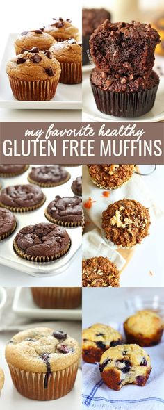 10 gluten free muffin recipes, for everything from blueberry and banana to chocolate and chocolate chip—even Paleo or vegan. We've taken the classic breakfast muffin and made it into a truly healthy g (Vegan Gluten Free Muffins) Gluten Free Recipes For Breakfast, Gluten Free Muffins, Gluten Free Sweets, Gluten Free Breakfasts, Gluten Free Cakes, Healthy Muffins, Gluten Free Cooking, Dairy Free Recipes, Healthy Recipes
