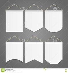 Molde Branco Da Flâmula Que Pendura No Grupo Da Parede Vetor Ilustração do Vetor - Imagem: 77115334