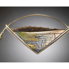 Enamel Jewelry, Jewelry Art, Jewelry Ideas, Jewellery, Metal Clay, Gold Foil, Triangle, Wings, Amethyst