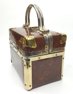 Vintage DeLill trunk purse train case box handbag faux tortoise shell finish