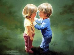 children in paintings by Zolan | Zolan children painting, art, children painting, couple, Donald Zolan ...