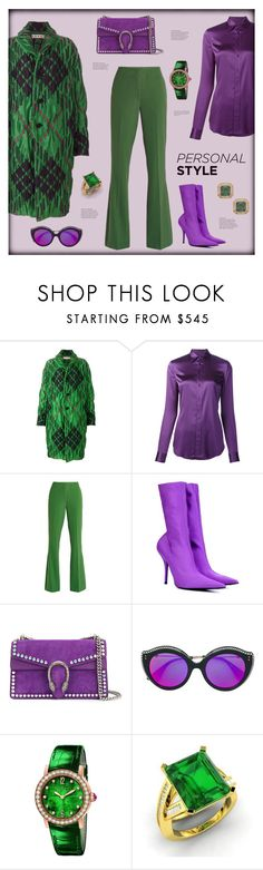 """Pop of green"" by zabead ❤ liked on Polyvore featuring Marni, Ralph Lauren, VIVETTA, Balenciaga, Gucci, Bulgari, Diamondere, Kenneth Jay Lane and emeraldgreen"
