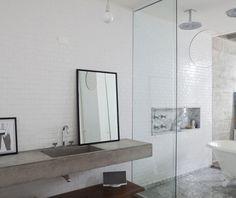 cement, shelves, tile, glass.