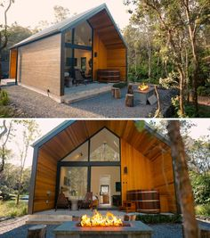 This Modern Tiny House Surrounded By A Forest In Hawaii Is A Surprising Find Small Kitchenette, Orange Door, Modern Tiny House, Wood Stool, Forest House, Cabin Design, Sliding Glass Door, Modern Buildings, Building Materials