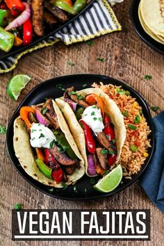 Get your weeknight sizzling In just 30 minutes with these Portobello Vegan Fajitas. They are spicy smoky subtly sweet and robust! The flavors come together when the seared veggies meet the homemade fajita sauce. Its mouth-watering good! via Vegan Huggs Vegan Mexican Recipes, Vegan Dinner Recipes, Vegan Dinners, Vegan Recipes Easy, Lunch Recipes, Whole Food Recipes, Vegetarian Recipes, Cooking Recipes, Vegetarian Mexican