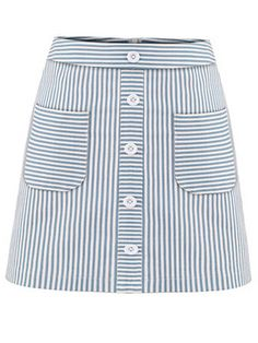 Shop Buttoned Pocket Front Striped A-Line Skirt - Blue online. SheIn offers Buttoned Pocket Front Striped A-Line Skirt - Blue & more to fit your fashionable needs. Skirt Outfits, Dress Skirt, A Line Skirts, Mini Skirts, Sewing Jeans, Stripe Skirt, Skirts With Pockets, Work Attire, Fashion Outfits