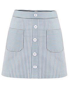 Falda bolsillo rayas línea A -azul-Spanish SheIn(Sheinside)
