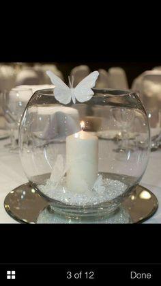 Multi-purpose fish bowls / ornaments decorative candle holders / vases bargain - New Sites Wedding Table, Diy Wedding, Wedding Ideas, Wedding Decorations, Christmas Decorations, Diy Christmas, Candle Holder Decor, Candle Holders Wedding, Centre Pieces
