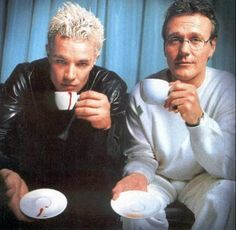 Fun fact: Anthony Head tutored James Marsters in his London accent and Spike was originally going to have a Texan accent but the idea was quickly dropped.