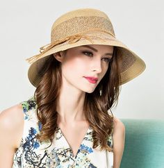Elegant bow spell color sun hat for women summer beach straw bucket hats