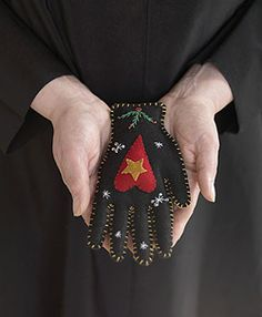 """""""Heart in hand"""", this hand means you extend your hand and heart to another person. make with them in mind, stuff with Lavender, rose petals, and rosemary, then give it to the person you wish to extend your heart and hand to. A close friend, a relative, or someone you know needs a lift. Witch pagan craft inspiration"""