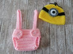 Girl Minion Hat and Diaper Cover Set Made to Order by MustLoveHats