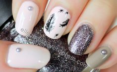 Feather Nails Tutorial // elleandish   #feathernails #feather
