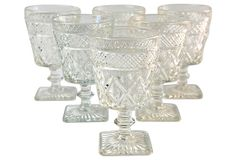 Harlequin Glass Goblets, S/6 on OneKingsLane.com