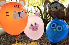 Forget about buying expensive mylar balloons for your next party and make these Easy Balloon Decals instead. The kids can help cutting them out. Party Animals, Balloon Animals, Animal Party, Animal Balloons, Family Crafts, Diy And Crafts, Crafts For Kids, Safari Party, Animal Cutouts