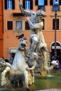 Neptune, Piazza Navona, Rome ,an amazing  square ,especially after a wonderful dinner at a little sidewalk eatery. So much happening here late in the evening.