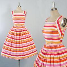 Vintage 50s Mode O Day Dress / 1950s STRIPED by GeronimoVintage