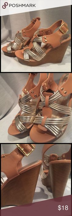 Metallic Wedges Metallic wedges with crossed straps. Rarely worn, very comfortable. Shoes Wedges