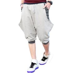 Magiftbox New Mens Stripe Zebra Casual Harem Hit-hop Shorts Jogging Shorts For Men K55_Light-grey_29 Magiftbox