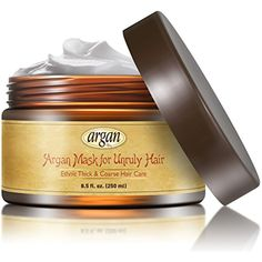 Unruly Hair Mask Deep Conditioner - Extra Thick Coarse Ethnic Hair Care - Moroccan Argan Mask 8.5 oz - Long Lasting Conditioning for Dry Damaged Hair  #HairCare