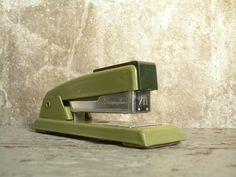 Vintage Swingline 711 Stapler Avocado Green and Black by TheArtifactoryStudio on Etsy