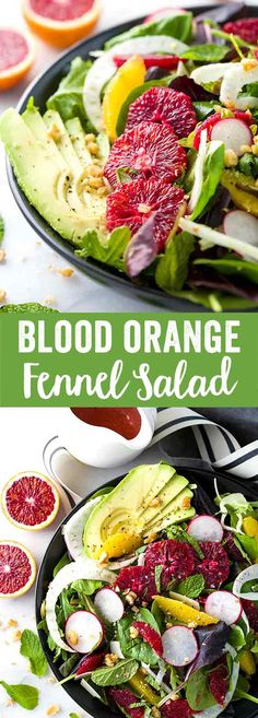 Blood Orange and Fennel Salad - A healthy recipe with avocado, mint, radish, parmesan cheese and walnuts topped with a delicious citrus vinaigrette dressing. | jessicagavin.com via @foodiegavin