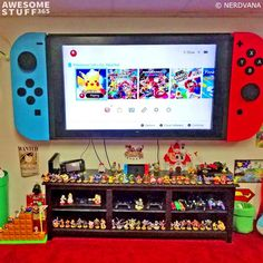 Nintendo Switch, Nintendo Room, Video Game Rooms, Gaming Room Setup, Framed Tv, Game Room Design, Game Room Decor, Gamer Room, Heart For Kids