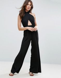 71781ed25b6 ASOS Jumpsuit with Cross Front and Super Wide Leg - Black