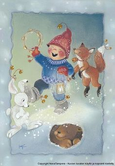 My collection. Kaarina Toivanen - Юлия К - Picasa Web Albums Christmas Illustration, Cute Illustration, Christmas Elf, Christmas Crafts, Christmas Decoupage, Xmas, Funny Drawings, Pretty Images, Country Paintings