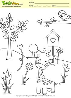 Spring Coloring Page Drawing Sheets For Kids, Coloring Sheets For Kids, Art Drawings For Kids, Spring Coloring Pages, Cars Coloring Pages, Simple Car Drawing, Giraffe Colors, Giraffe Crafts, Coloring Pictures For Kids