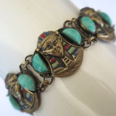Vintage Czech Peking Glass Art Deco Egyptian Revival Enamel Bracelet