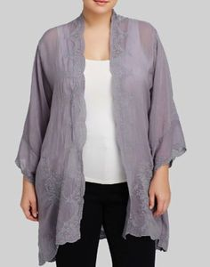 Johnny Was Plus Size Embroidered Jacket