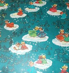 Vtg Christmas Wrapping Paper Gift Wrap Mid Century Beautiful Angels | eBay