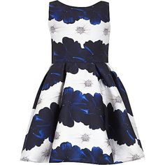 River Island Girls blue floral prom dress