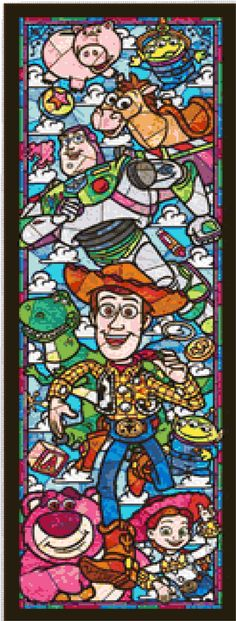Toy Story airy Tale Stained Glass 088 Modern Cross Stitch Pattern Counted Cross Stitch Chart Pdf Format Instant Download