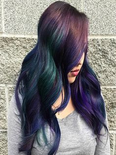 How to create oil slick hair - tricoci university of beauty culture Ombre Blond, Blonde Dye, Dye My Hair, Hollywood Stars, Oil Slick Hair Color, Haircuts For Medium Length Hair, Dyed Hair Pastel, Slick Hairstyles, Dark Blonde