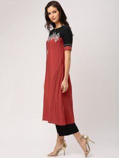 Buy IMARA By Shraddha Kapoor Women Red & Black Colourblocked Embroidered A Line Kurta - Kurtas for Women | Myntra