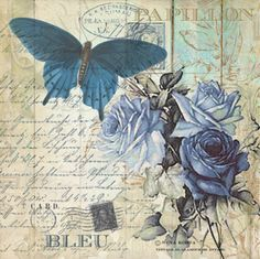 Rice Paper for Decoupage Decopatch Scrapbook Craft Sheet Roses and Butterfly Decoupage Vintage, Vintage Diy, Vintage Labels, Vintage Ephemera, Vintage Cards, Vintage Paper, Vintage Postcards, Decoupage Plates, Vintage Year