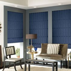 Accent a room full of nutrals with a navy shade and   creative pieces l Premium Roman Shades